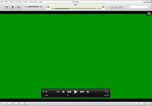 Green video screen with iTunes