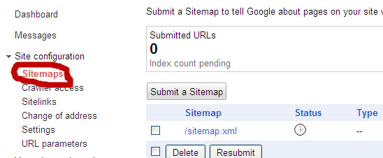 sitemap submission to webmaster tools