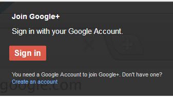 Google Plus sign up box