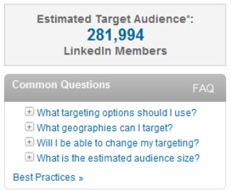 estimated target audience for LinkedIn Ads