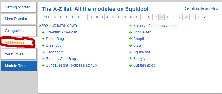 squidoo listing of all modules