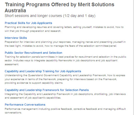 merit solutions training courses