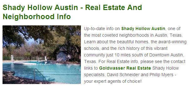 Shady Hollow Squidoo lens - Goldwasser Real Estate