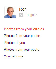 Google + photos options