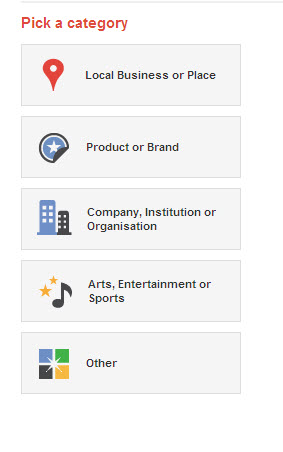 google+ business page categories