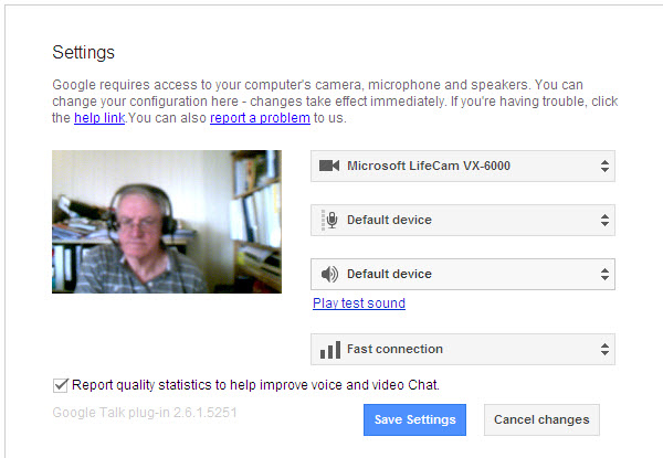 google+ hangout - settings