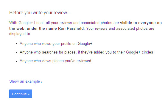 Google+ review warning